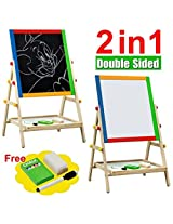 M&G Wooden Floor Art Easel, Chalkboard & White Board