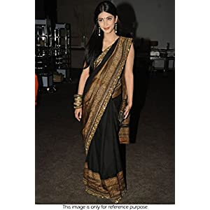 BOLLYWOOD REPLICA SHRUTI HAASAN 60 GRAM GEORGETTE SAREE IN BLACK AND GOLD COLOUR