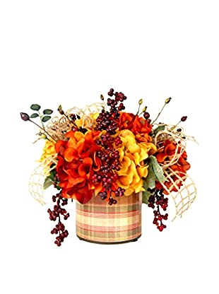 Creative Displays Red & Gold Hydrangea with Burgundy Berries in Vintage Plaid Label Glass, Red/Gold/Rust