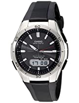 Casio Mens WVA-M640-1ACR Wave Ceptor Stainless Steel Analog-Digital Watch with Black Resin Band