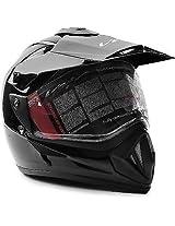 Vega Off Road Dual Visor Motorsports Helmet -Size-M (Gloss Black) -Bw88