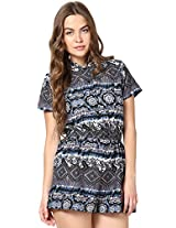 The Gud Look Women's Poly Crepe Blue Grey Printed Romper Small Blue