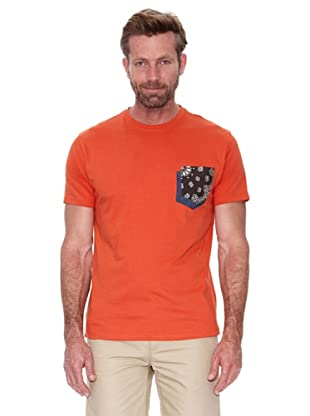 Cortefiel Camiseta Bolsillo (Naranja)