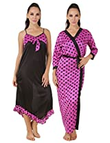 Fasense Exclusive Women Satin Nightwear Sleepwear 2 PCs Set of Nighty & Wrap Gown, DP155 (Medium, Mauve & Black)