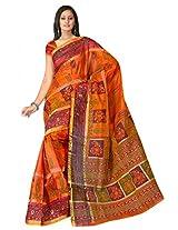 Sehgall Saree Indian Bollywood Designer Ethnic Professional Designer Fancy Material Orange