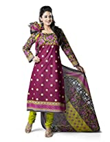 Rajnandini Women's Maroon & Green colour pure cotton Printed Unstitched salwar suit Dress Material (Free Size)