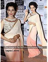 Kangana Indian Bollywood Designer Party Wear Ethnic Women Saree, Sari - Peach, Cream