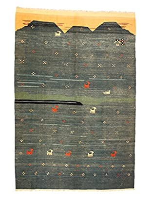 Kilim Rug, Blue/Green/Salmon, 6' 7