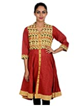 Rajrang Women Cotton Tunic Kurta (Top05069-S _Maroon And Beige _Small)