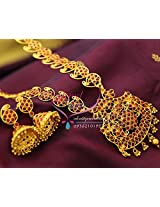 Temple Kempu Ruby Mango Traditional Gold Design Haram Long Necklace Jhumka Earrings Buy Online