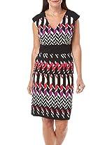 London Times Women's Cap Sleeve Inset Waist Sheath Dress Pink Combo Dress 12
