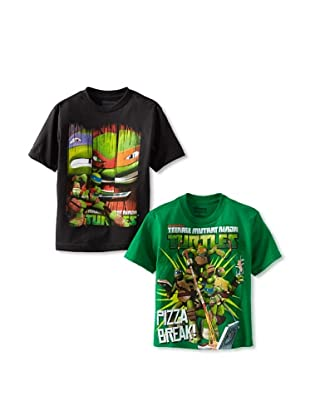 Freeze Boy's Ninja Turtles 2-Pack T-Shirt Bundle (Shamrock/Black)