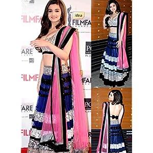 Bollywood alia bhatt blue pink lehenga