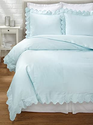 Belle Epoque Scalloped Embroidered Duvet Cover Set (Blue)