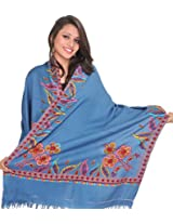 Exotic India Stole from Kashmir with Ari Hand-Embroidery on Border - Color Moonlight BlueColor Free Size