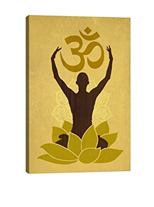 OM Lotus Flower Pose Green by DarkLord Giclée Canvas Print