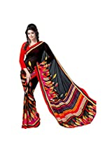 Anss Faux Georgette Saree (Anss0007 _Multi-Coloured)