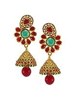 Habors Gold Plated Red Ebha Jhumki Earrings for Women
