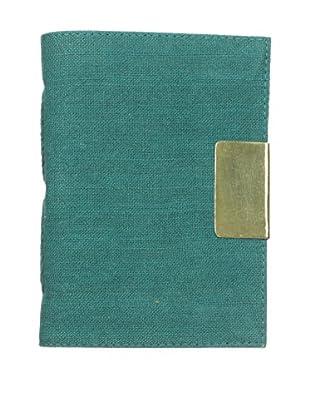 Marina Vaptzarov Linen Soft Cover Journal with Brass Sliding Closure, Teal