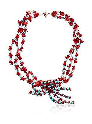 Sándalo Collar  Rojo / Turquesa