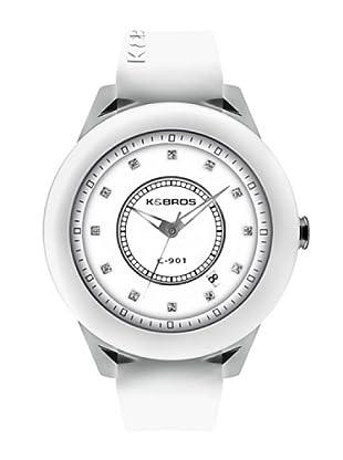 K&BROS 9165-3 / Reloj de Señora  con correa de caucho blanco