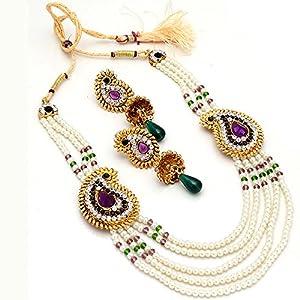 Jewar Mandi pearl decent ad cz gemstone indian designer stylish latest fine charming Necklace for Women