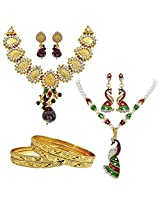Surat Diamonds Traditional Goddess & Peacock Motif Gold Plated Necklace Earring Set with 4 Gold Plated Bangles for Women (H1430)