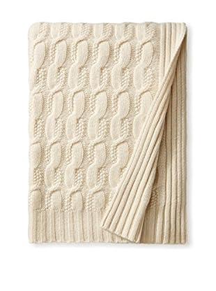Sofia Cashmere Seed Stitch Cable Throw, Ivory