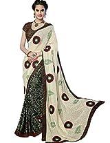 Sapphire Fashions Women's Off-White Faux Saree