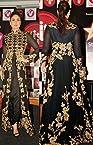 Kareena Kapoor Black And Gold Floor Length Designer Semi Stitched Anarkali Suit