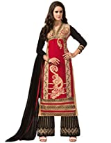 Inddus Women Red & Black Embroidered Georgette Dresss Material