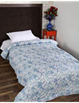 Lovely Hand Block Printed Cotton Quilt Single White Floral By Rajrang