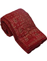 Little India Traditional Sanganeri Print Cotton Double Bed Quilt - Red  (DLI3DRZ314)