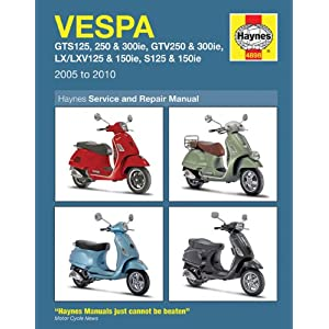 Vespa Scooters Repair Manual covering GTS125/250 and 300ie (2005