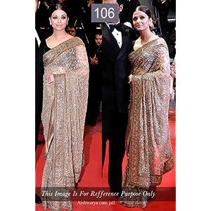 Celebrity Aishwarya Rai Style Beige Chiffon Saree (106)