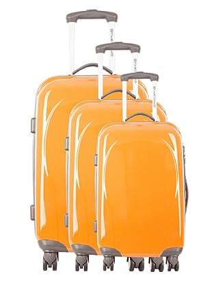 Platinium Set 3 Trolleys 4 Ruedas Ica (Naranja)