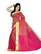 Paaneri Pink and Golden Small Strips Half and Half Handloom Cotton Saree_15103501705
