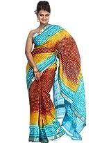 Exotic India Tri-Color Bandhani Tie-Dye Gharchola Saree from Gujrat - Tri-Color