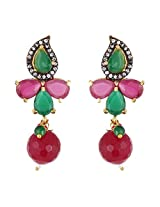 Be You Contemporary Multicolor Diamond Look Rhodium Plated Brass Drop Earring for Women