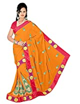 Chinco Embroidered Saree With Blouse Piece (407-B_Orange)