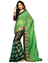 Inddus Women Green & Purple Colored Georgette Embroiderd Saree.