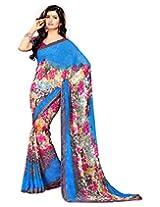 Surat Tex Blue Georgette saris with Unstitched Blouse