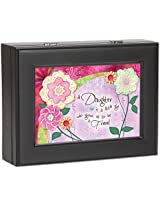 Daughter Cottage Garden Black Matte Finish Jewelry Music Box - Plays Song You Are My Sunshine
