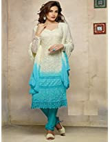 Latest cream with sky blue Karachhi Salwar Suit