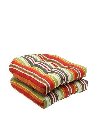 Pillow Perfect Set of 2 Outdoor Roxen Stripe Wicker Seat Cushions, Citrus
