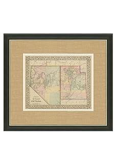 "Mitchell-Antique Map of Utah & Nevada, 1860's-1870's, 21"" x 23"""