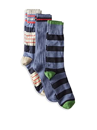 Florsheim Men's Multi Socks (3 Pair) (Navy/Navy Stripe/Denim Heather)