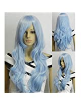 IMAGE 33 inch Light Blue Heat Resistant Curly Wavy Long Cosplay Wigs