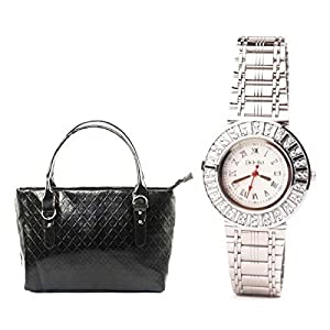 Fidato Women's Steel Watch + Black Handbag