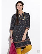 Abstract Hand Block Print Kurta-Green-